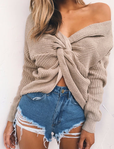 V Neck Cross Knitting Sweater