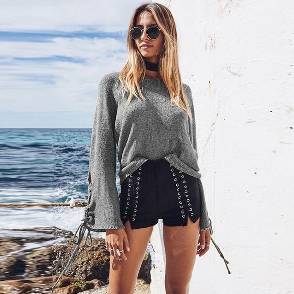 Long Flare Sleeve Lace Up Knitted Sweater