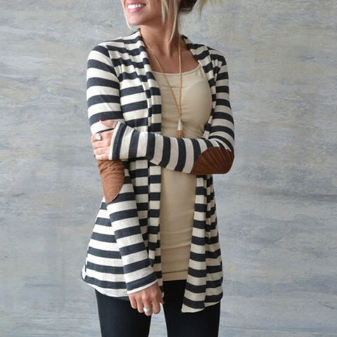 Elbow Patchwork Knitted Striped Cardigan