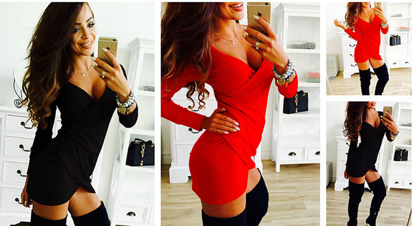 Long Sleeve Cross Draped Bodycon Mini Dress