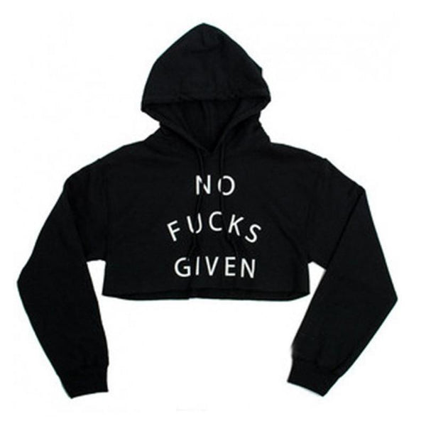 No Fucks Given Crop Pullover