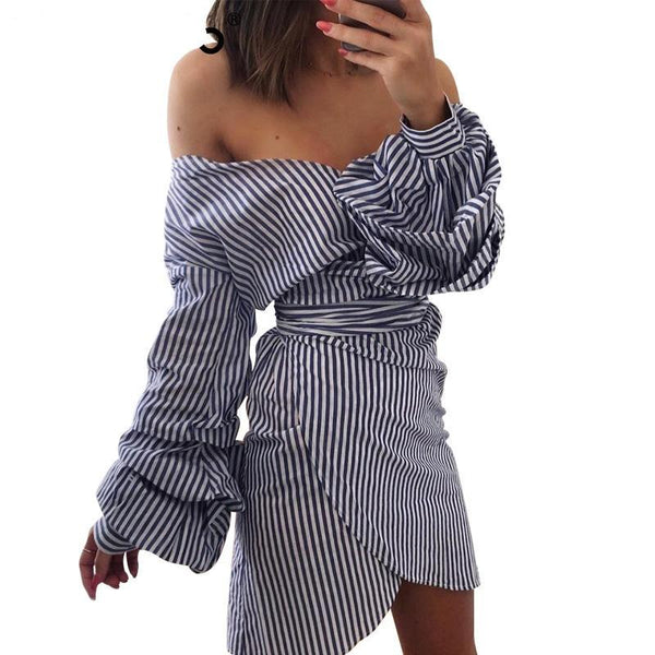 Off Shoulder Bow Tie Wrap Dress