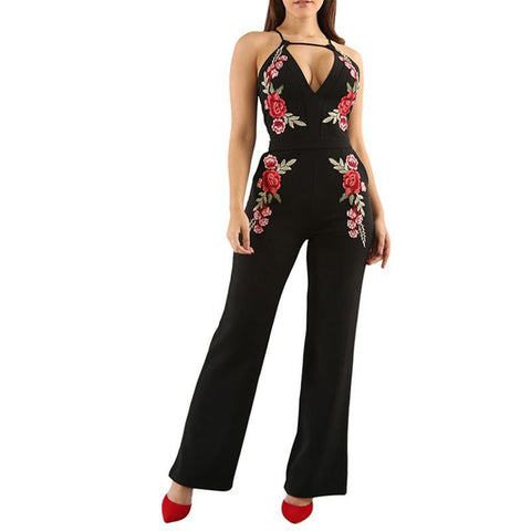 Embroidery Rose Backless Jumpsuit