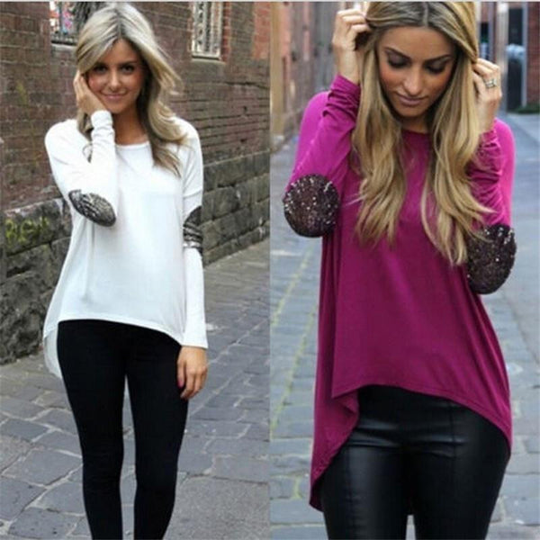 Long Sleeve Cotton Glitter Patches Tunic Tops