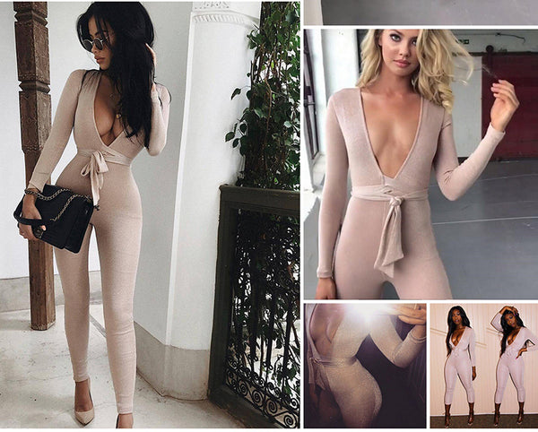 Deep V Neck Suede Belt Sexy Bandage Jumpsuit
