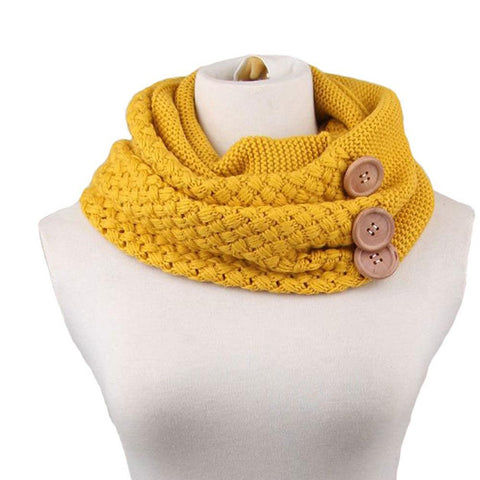 3 Buttons Knitting Wool Ring Scarf