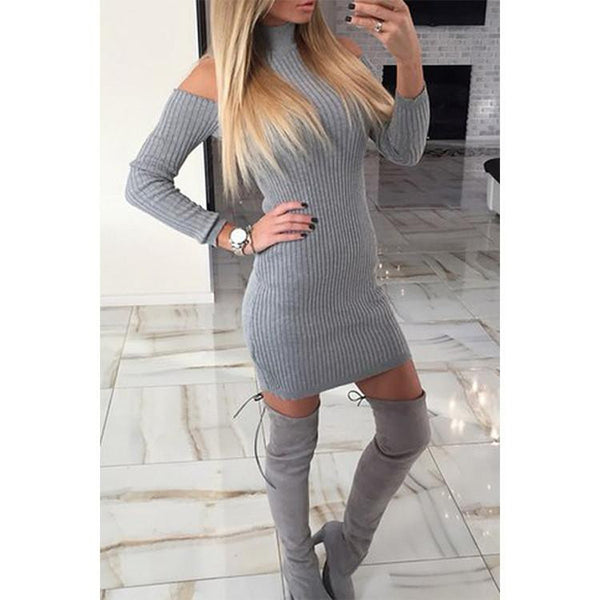 Winter Off Shoulder Long Sleeve Knitted Dress