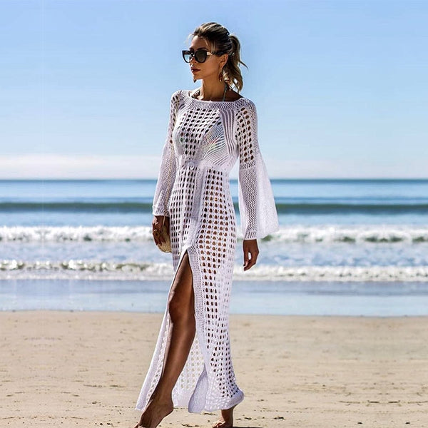 Long Knitted Beach Wear Crochet Cover Up