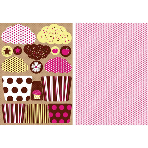 All About Her Die-Cut Punch-Out Card 2-Sheet Pack - Fairy Cakes Chocolate Icing