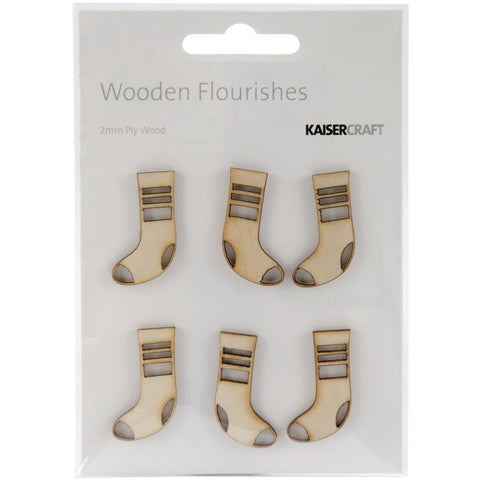 Wooden Flourishes 6/Pkg - Mini Stockings