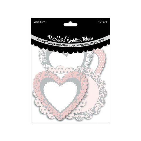 "Ruby Rock It- Bella Wedding Tokens - Glittered Cardstock Die-Cuts 3"" 15/Pkg"