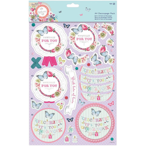 Papermania Bellissima Foiled A4 Decoupage 8 Pack - Mum