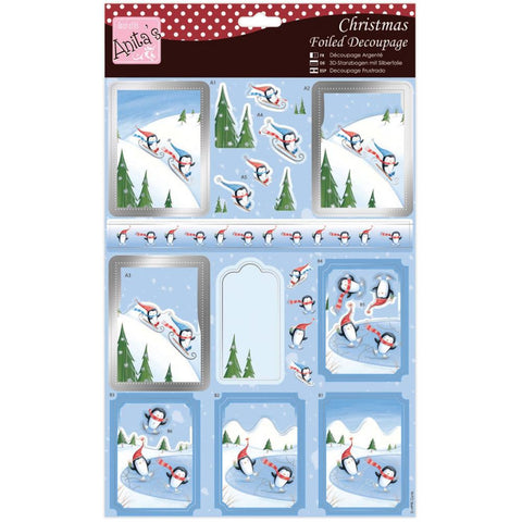 Anita's Christmas A4 Foiled Decoupage Sheet - Penguins Skiing