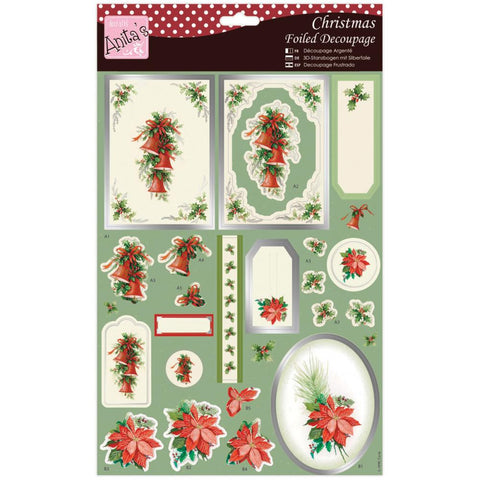 Anita's Christmas A4 Foiled Decoupage Sheet - Bells & Poinsettia