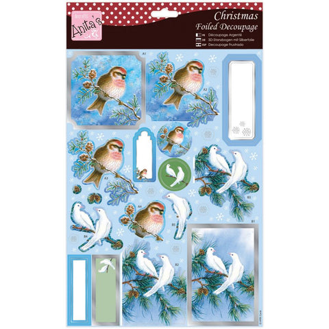Anita's Christmas A4 Foiled Decoupage Sheet - Pair Of Doves