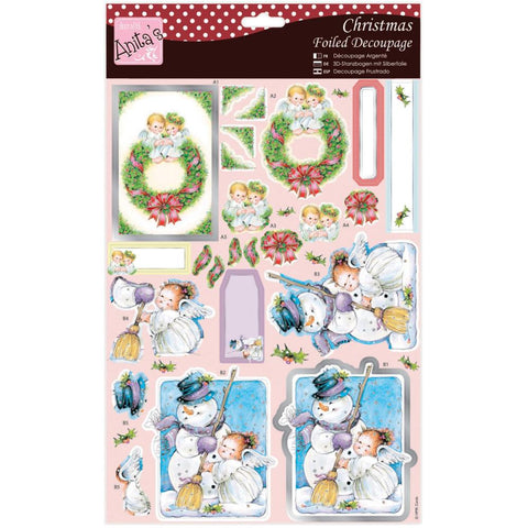 Anita's Christmas A4 Foiled Decoupage Sheet - Angels On Wreath