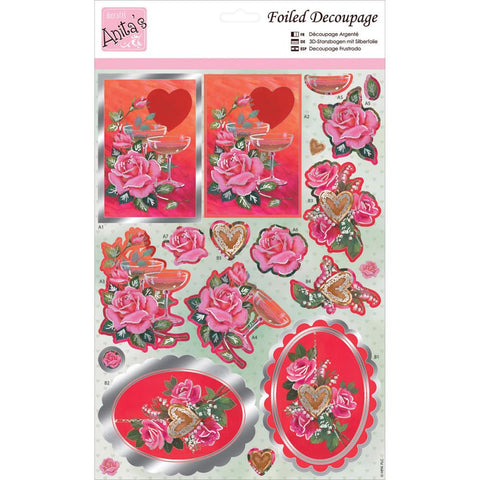 Anita's A4 Foiled Decoupage Sheet - Champagne & Roses