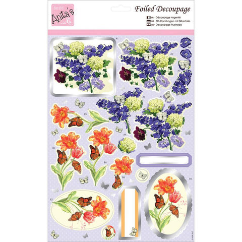 Anita's A4 Foiled Decoupage Sheet - Spring Flowers