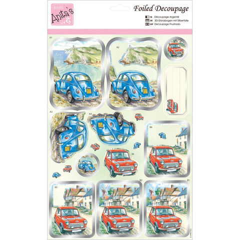 Anita's A4 Foiled Decoupage Sheet - Countryside Travels