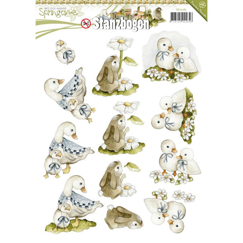 Find It Amy Design Spring Punchout Sheet - Goose, Bunny & Duck