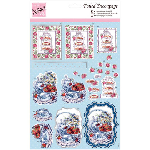 Anita's A4 Foiled Decoupage Sheet - Roses At Tea Time