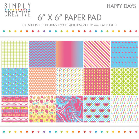 "Simply Creative Paper Pad 6""X6"" 30/Pkg - Happy Days, 15 Designs/2 Each"