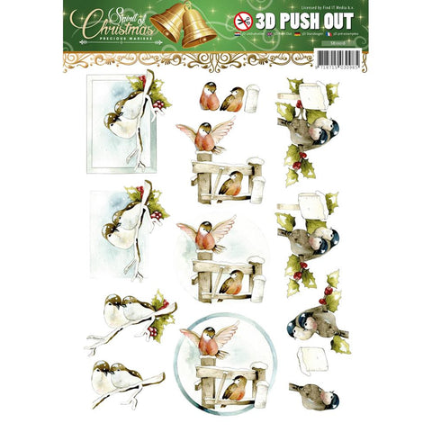 Find It Trading Precious Marieke Push Out Sheet - Spirit Of Christmas -Birds