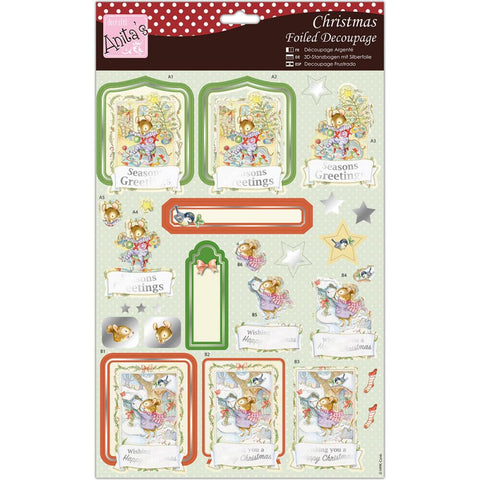 Anita's A4 Foiled Decoupage Sheet - Merry Mouse