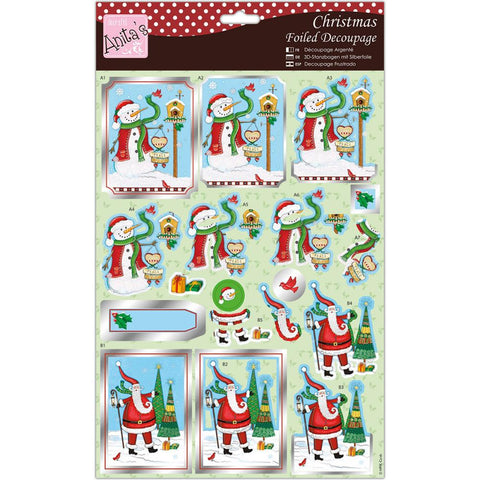 Anita's A4 Foiled Decoupage Sheet - Nordic Father Christmas