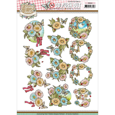 Find It Yvonne Creations Springtastic Punchout Sheet - Floral Bouquet & Wreath