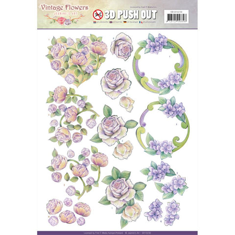Find It Trading Jeanine's Art Vintage Flowers Punchout Sheet - Romantic Purple