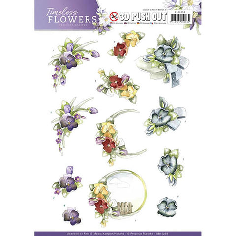 Find It Precious Marieke Timeless Flowers Punchout Sheet - Violets