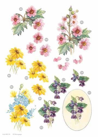 Craft UK - Pink, Yellow, Purple flowers - Metallic