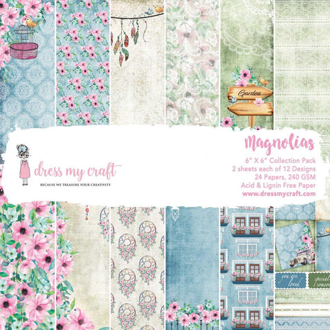 "Dress My Crafts Single-Sided Paper Pad 6""X6"" 24/Pkg - Magnolias"