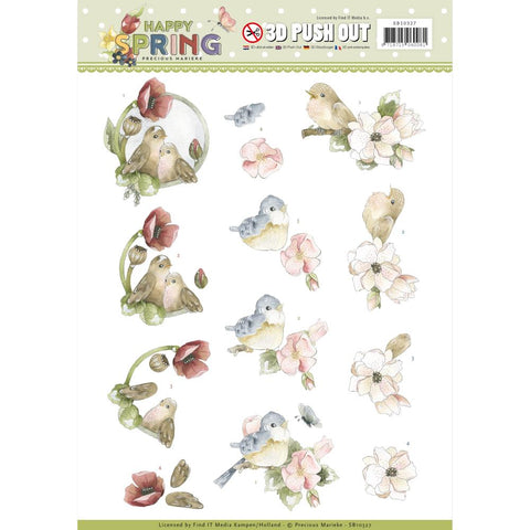 Find It Precious Marieke Punchout Sheet - Birds, Happy Spring