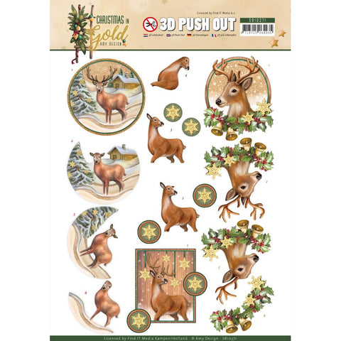 Find It Amy Design Punchout Sheet - Deer, Christmas In Gold