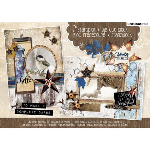 Studio Light Die-Cut Card Toppers A5 12/Pkg - Winter Trails 2