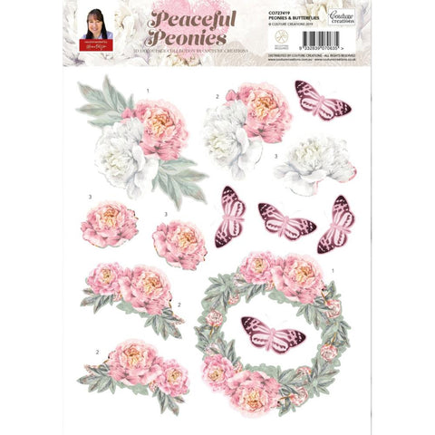 Couture Creations Peaceful Peonies Decoupage Sheet A4