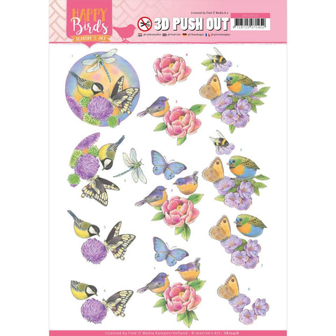 Find It Trading Jeanine's Art Punchout Sheet - Fragrant Flowers, Happy Birds