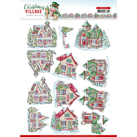 Find It Trading Yvonne Creations Punchout Sheet - Christmas Houses, Christmas Village