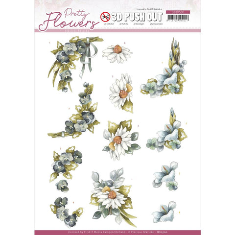 Find It Precious Marieke Punchout Sheet - Blue Flowers, Pretty Flowers