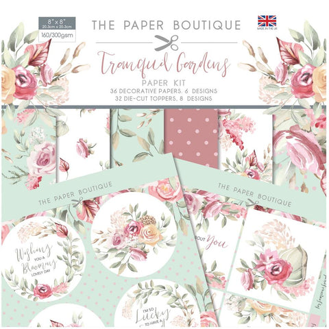 "The Paper Boutique Paper Kit 8""X8"" - Tranquil Gardens"