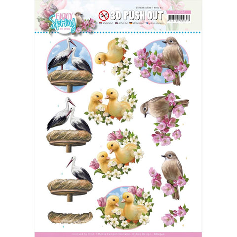 Find It Trading Amy Design Punchout Sheet - Birds, Enjoy Spring
