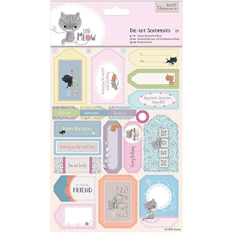 Papermania Little Meow Sentiments Die-Cuts 2/Sheets