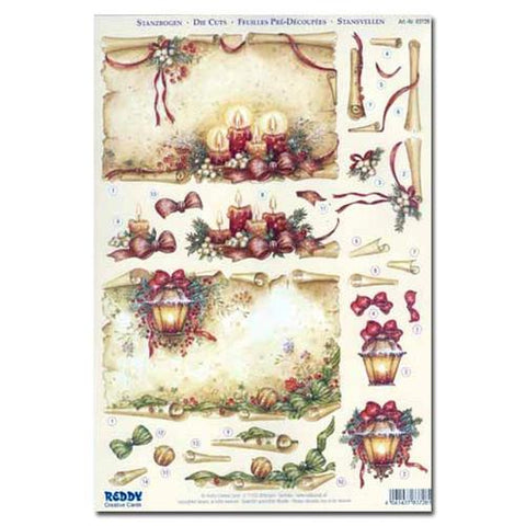 Reddy Creative Cards Die-Cut 3D Card Toppers - Old Parchment Christmas