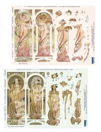 3D Die Cut Sheet - Alphonso Mucha Moet Grand Cremant & White Star
