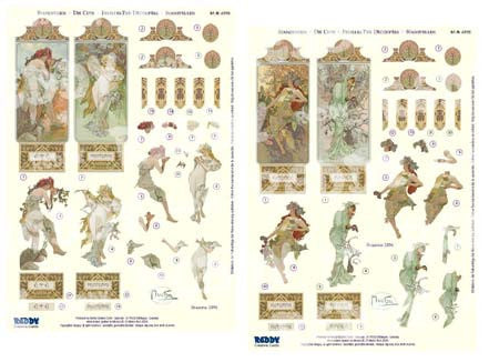 3D Die Cut Sheet - Alphonso Mucha Seasons 1896
