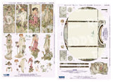 3D Die Cut Sheet - Alphonso Mucha Flowers & Backing Sheet