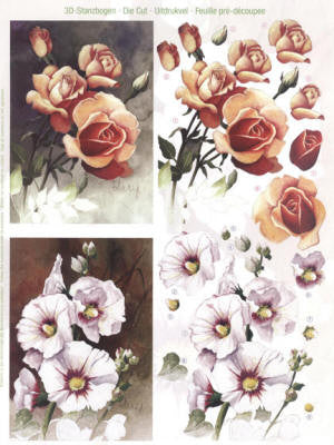 3D Die Cut Sheet - Realistic Cut Flowers - Rose, Mallow