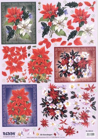 Reddy Creative Cards Die-Cut 3D Card Toppers - Poinsettias